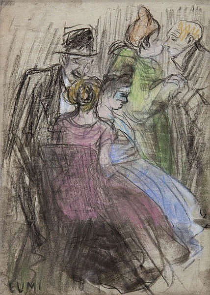 EUGEEN VAN MIEGHEM (1875-1930) Masked ball. Black crayon, heightened.