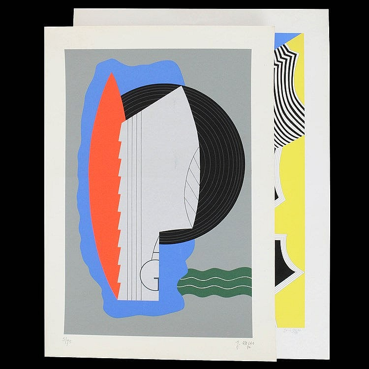JOZEF MEES (1898-1987) Composition. Colour lithograph. A set of two. B