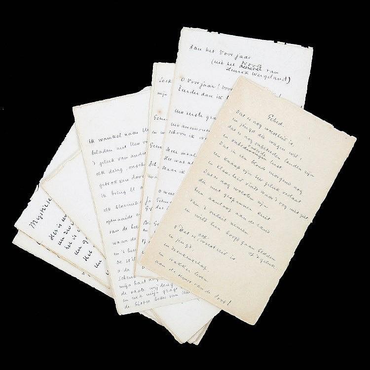 (Verbruggen) Paul Verbruggen, Gedichten. Manuscript. 26 p. in-8°. Blauwe in