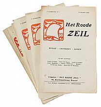 (tijdschrift) Het Roode Zeil. 1e jaargang, nr 1 tot 8. 6 vol. in-8°. Ingena
