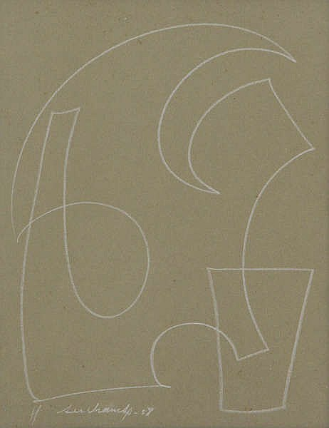 VICTOR SERVRANCKX (1897-1965) Composition. White pencil. Signed and da
