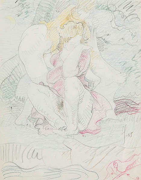 VICTOR SERVRANCKX (1897-1965) Seated figures. Colour pencil and pencil