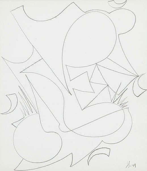 VICTOR SERVRANCKX (1897-1965) Composition. Pencil. Initials and date.