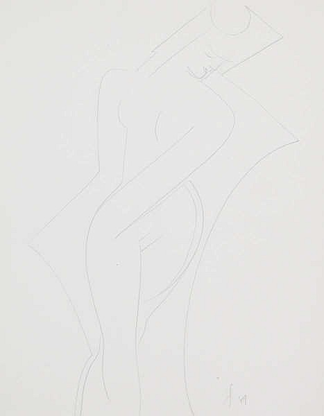 VICTOR SERVRANCKX (1897-1965) Female nude. Pencil. Initials and date.