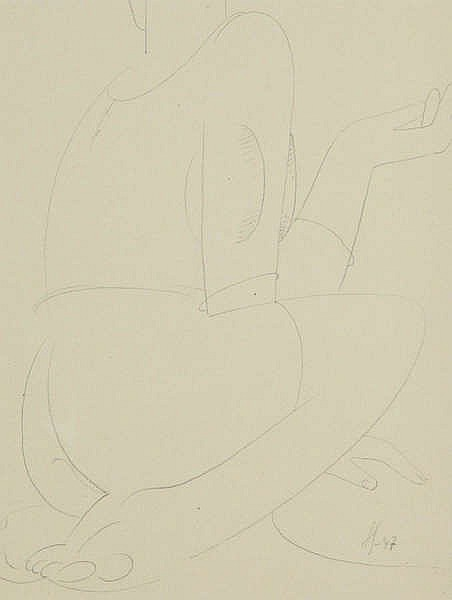 VICTOR SERVRANCKX (1897-1965) Seated figure. Pencil. Initials and date
