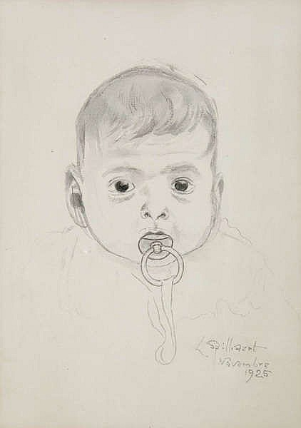 LEON SPILLIAERT (1881-1946) Baby's head. Grey washed ink. Signed and d