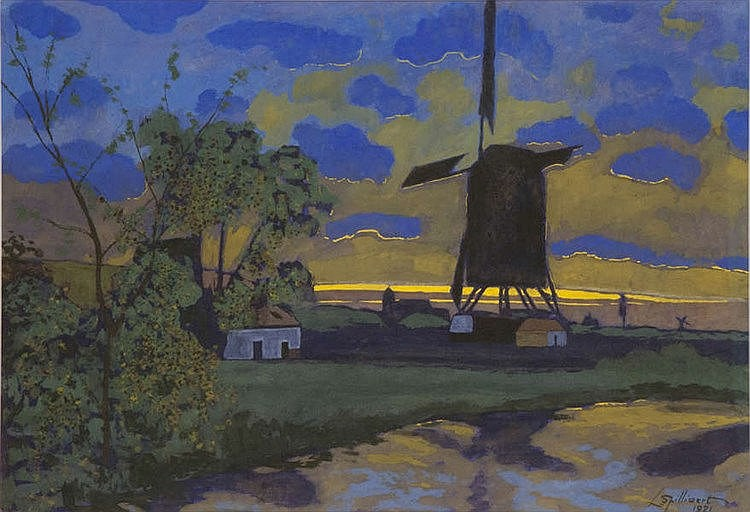 LEON SPILLIAERT (1881-1946) Landscape with windmill. Watercolour and g