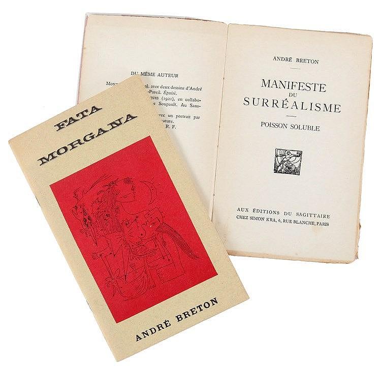(Breton) André Breton, Manifeste du Surréalisme. Poisson soluble. Paris, Au