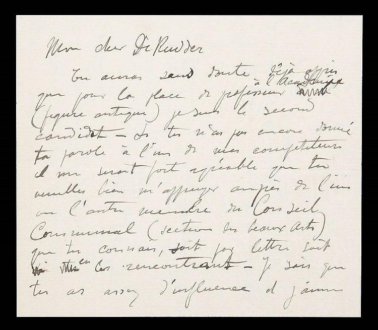 (Montald) Lettre de Constand Montald à Arthur De Rudder. 3pp. sur double fe