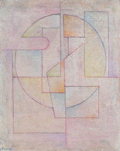 FERDINAND VONCK (1921-2010) Composition. Crayon. Signed. Framed.