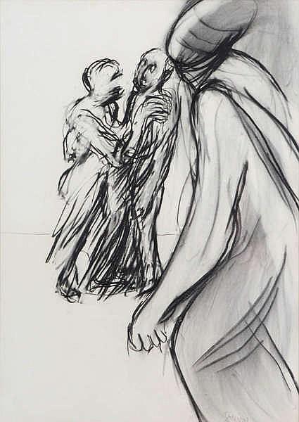 EUGENE DODEIGNE (1923-2015) Standing figures. Charcoal. Signed. Framed