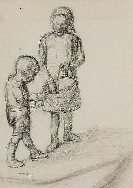 ALBERT VAN DIJCK (1902-1951) Two children. Charcoal. Signed. Framed.