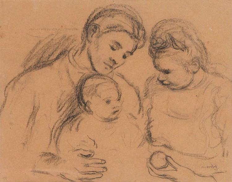 ALBERT VAN DIJCK (1902-1951) Family. Charcoal. Signed. Framed. 2