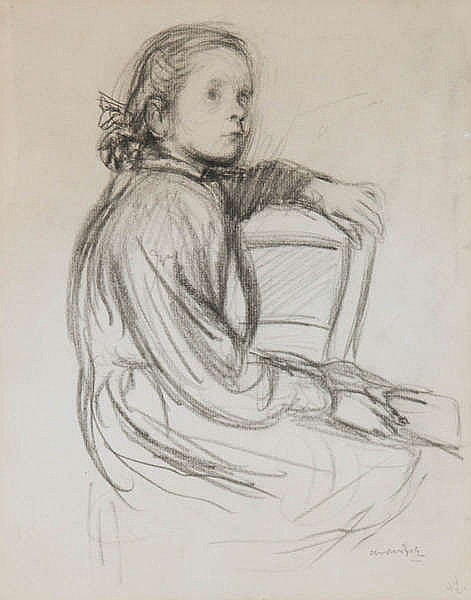 ALBERT VAN DIJCK (1902-1951) Seated girl. Crayon. Signend and with ann