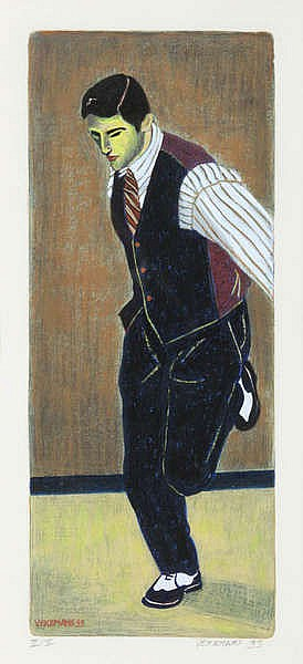 BRUNO VEKEMANS(1952) Man with bow tie. Etching, heightened. Signed and