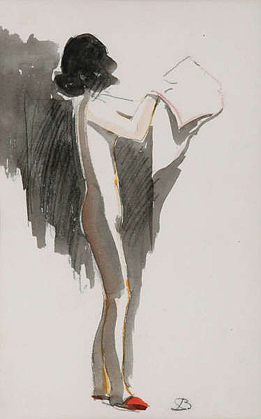 LEO BERVOETS (1892-1978) Standing nude. Black crayon and watercolour.
