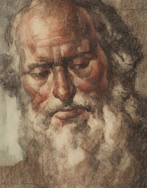 EDMOND VAN DOOREN (1895-1965) Bearded man. Watercolour. Signed. Framed