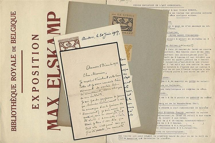 (Elskamp) Max Elskamp, lettre aut. signée à un 'Cher Monsieur'. 2pp. in-8°,