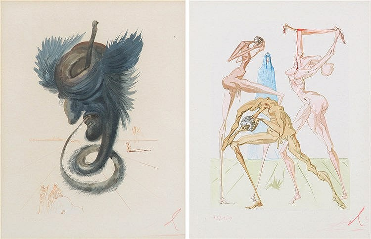 SALVADOR DALI (1904-1989) Divine Comedy. Two colour etchings and aquat
