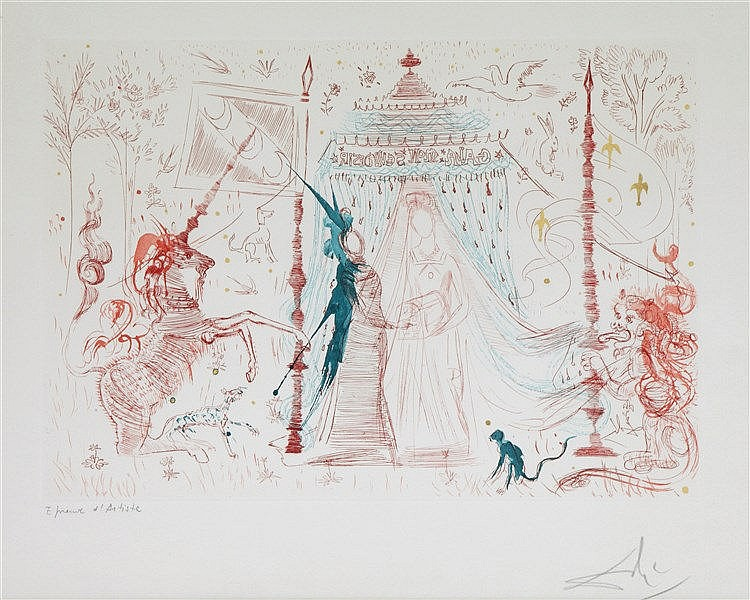 SALVADOR DALI (1904-1989) Etching and aquatint in colour, some parts g