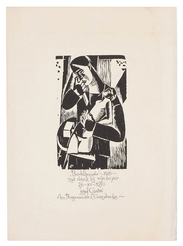 JOZEF CANTRE (1890-1957) Woodcut. Initials in the plate. With handwrit