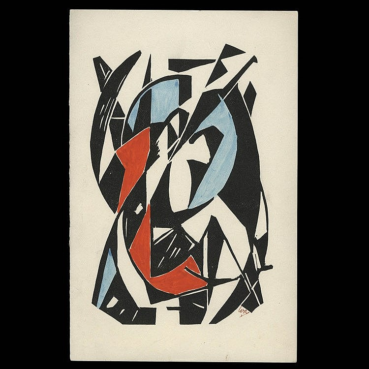 WOBBE ALKEMA (1900-1984) Composition. Linocut. Heightened with gouache