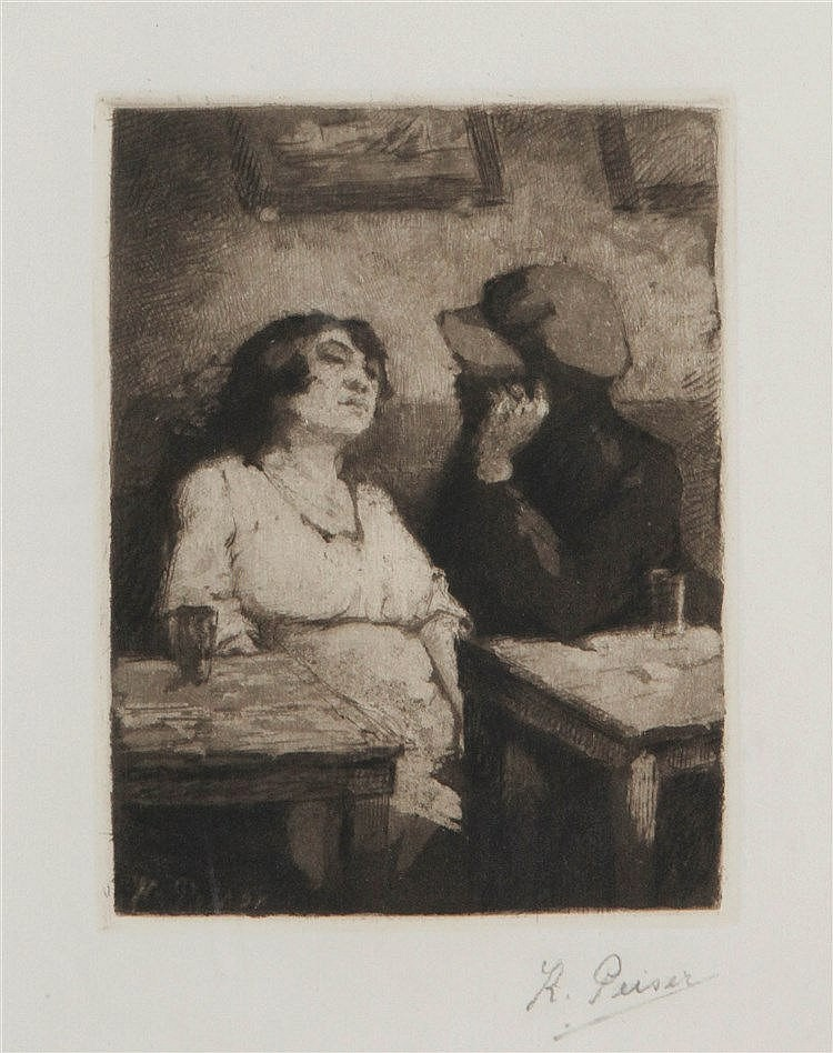 KURT PEISER (1887-1962) Drinking. Etching. Signed. Framed.  152 x