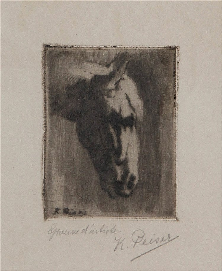 KURT PEISER (1887-1962) Horse's head. Dry point. Signed. Framed.