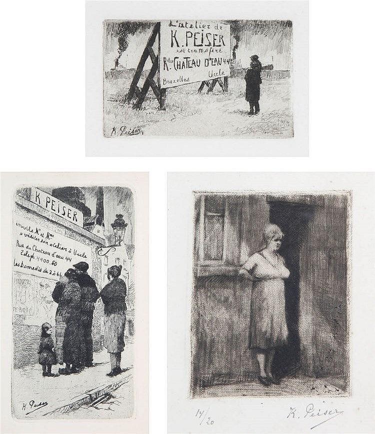 KURT PEISER (1887-1962) Set of three etchings. All framed.