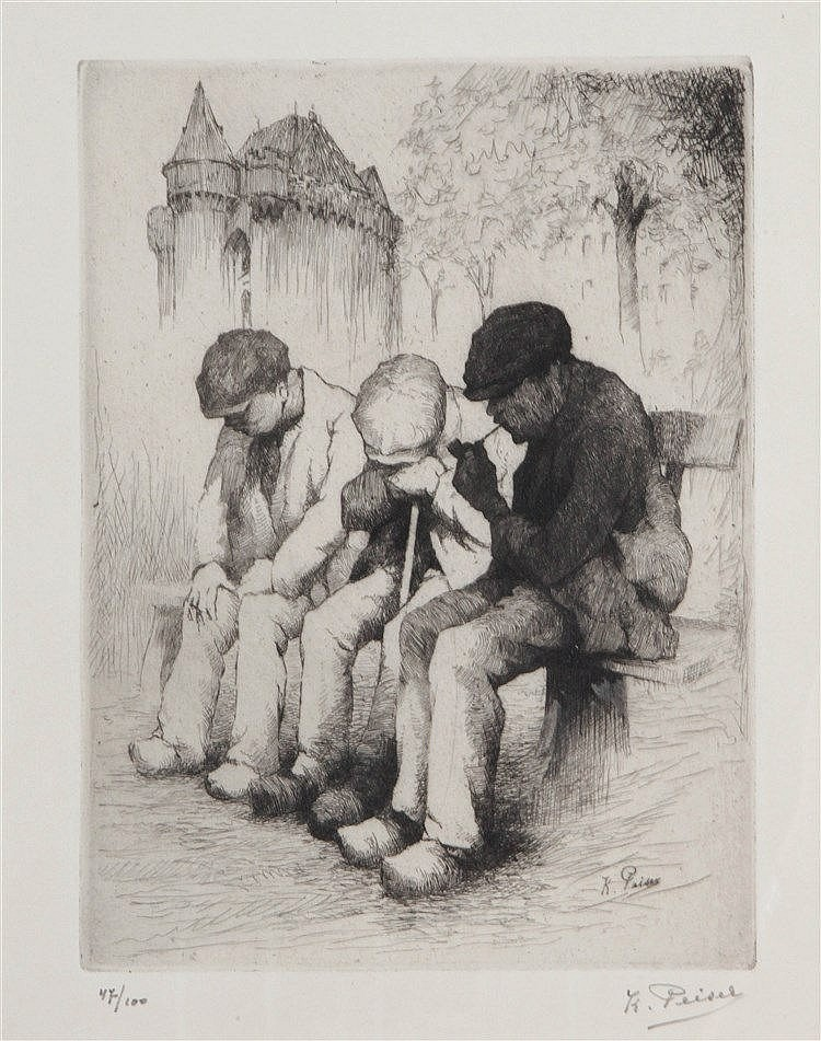 KURT PEISER (1887-1962) Three elderly men. Etching. Signed and numbere