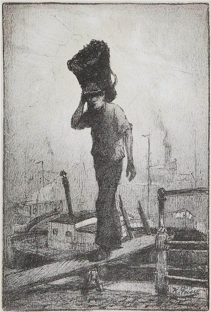 KURT PEISER (1887-1962) Worker. Lithograph. Signed. Framed.  290