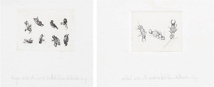 MIKI VANDER EECKEN XX Two etchings. Both signed, dated, titled and num