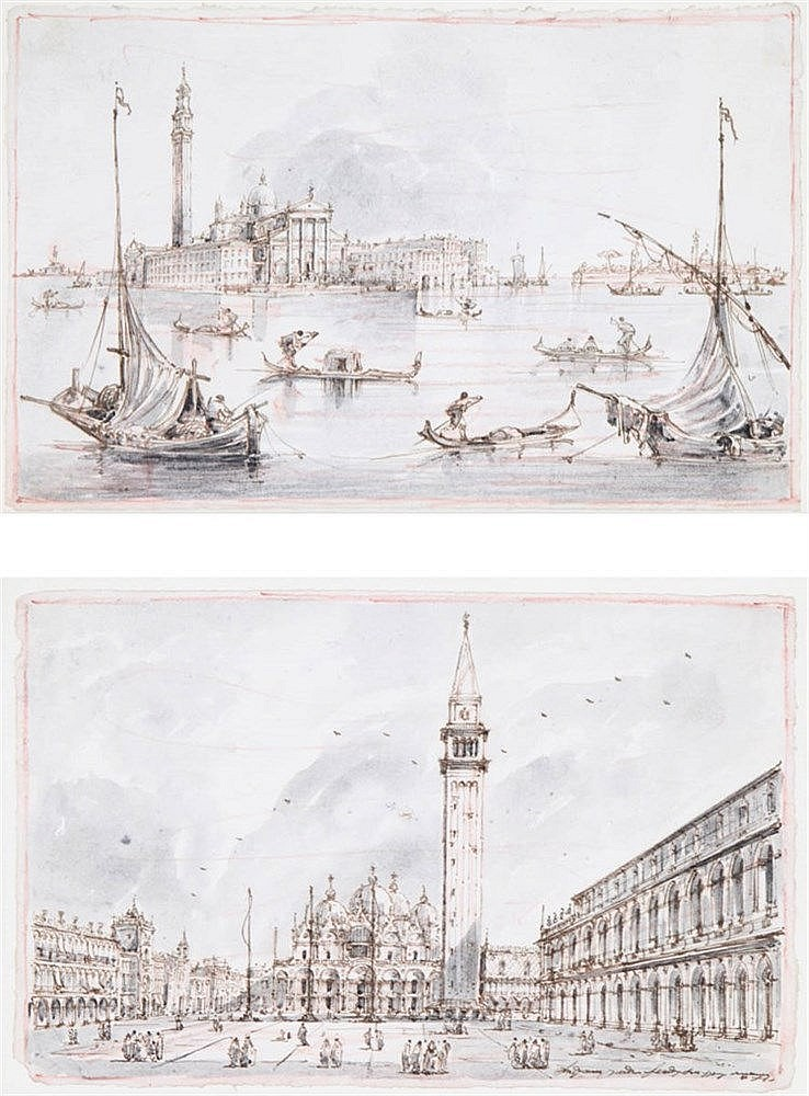 Illegible XIX San Marco square. Venetian laguna. Brown ink, grey washe