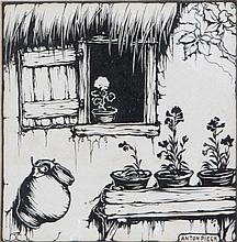 ANTON PIECK (1895-1986) At a cottage. Chinese ink and gouache. Signed.