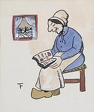 FELIX TIMMERMANS (1886-1947) Paysant woman reading. Chinese ink and wa