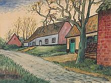 FELIX TIMMERMANS (1886-1947) Farm houses along the road. Black crayon,