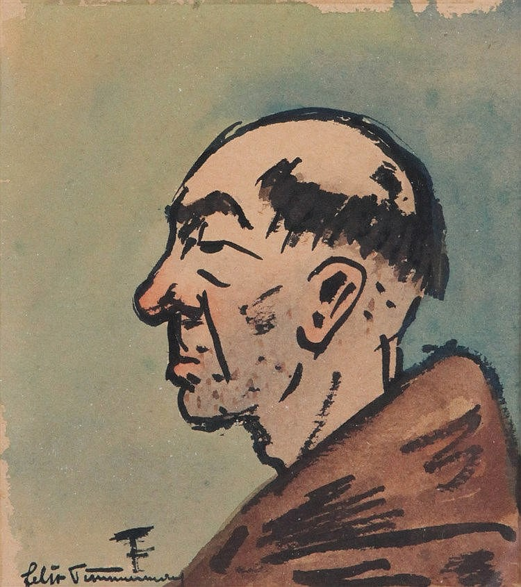 FELIX TIMMERMANS (1886-1947) Head of a monk. Chinese ink and watercolo