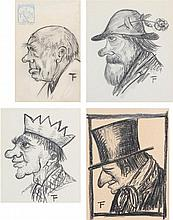 FELIX TIMMERMANS (1886-1947) Four typical heads. Black pencil. All wit