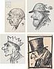 FELIX TIMMERMANS (1886-1947) Four typical heads. Black pencil. All wit, Félix Timmermans, €400
