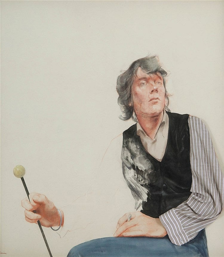LIEVEN WALSCHAP(1930) Portrait of a man with a cigaret. Mixed media (o