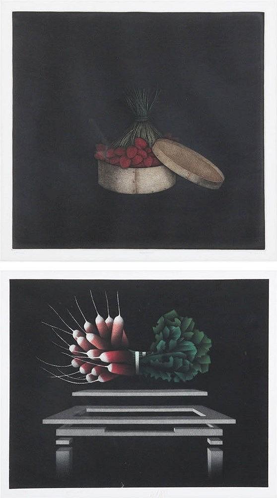 MARIO AVATI XX Two mezzotints. Signed. Framed. 275 x 345/ 300 x