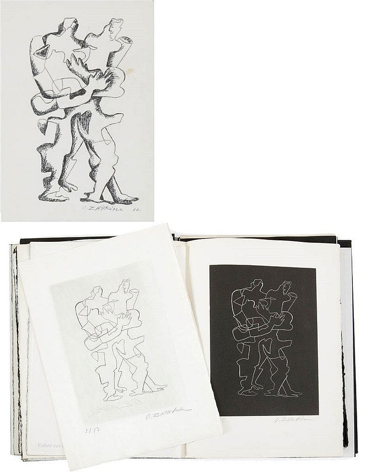 OSSIP ZADKINE (1890-1967) Figures. Black marker and pencil. Signed and