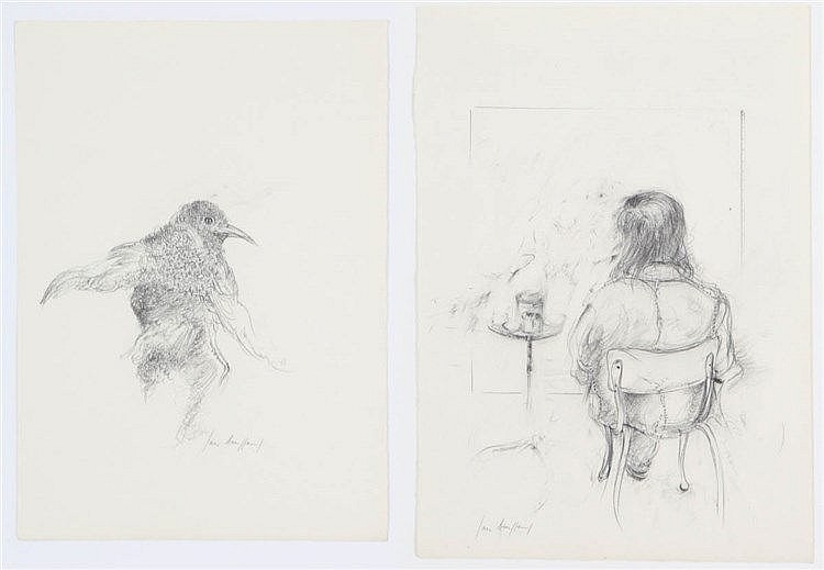 JAN BURSSENS (1925-2002) Selfportrait. Bird. Two drawings. Pencil. Bot