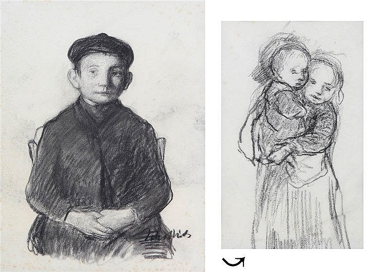JAKOB SMITS (1856-1928) Good boy. On the reverse: Little sisters. Blac