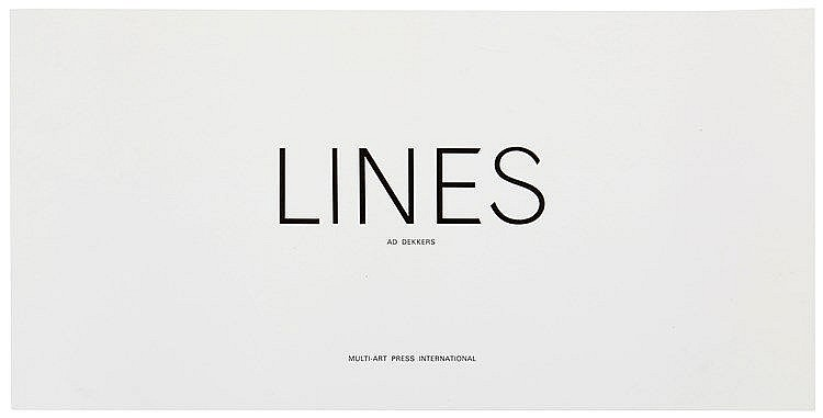 AD DEKKERS (1933-1974) 'Lines' (1972). Antwerpen, Multi-Art Press, 197