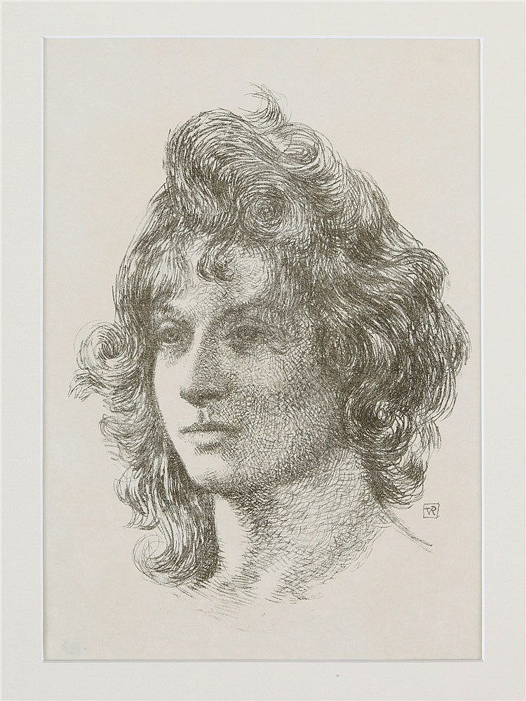 THEO VAN RIJSSELBERGHE (1862-1926) Woman's head. Lithograph on simili-