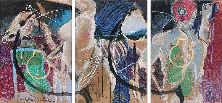 PATRICK VILLAS (GEERTS)(1961) Composition. Tryptic. Pastel. Signed and
