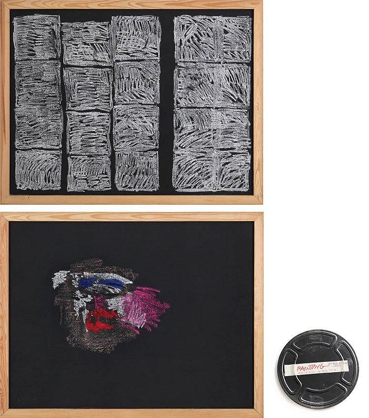 BENNI EFRAT(1936) Colour crayon on black board painted triplex. Signed