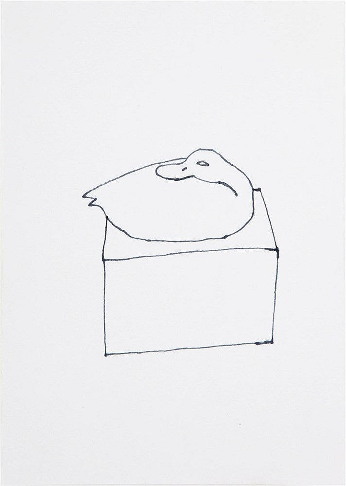 STEPHAN BALKENHOL(1957) Seated duck. Black marker. Signed, dated and w