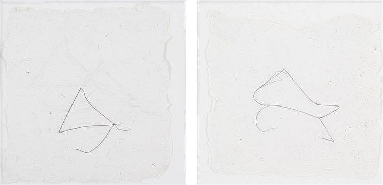 JOEL FISCHER(1947) Composition. Set of two. Pencil. Both framed.